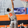 Don Knight | The Herald Bulletin<br /> Anderson University's Malik Laffoon dunks on a fast break after stealing the ball from Mount St. Joseph on Saturday.