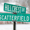 Don Knight | The Herald Bulletin<br /> Icicle hand from the street sign at Scatterfield and Hillcrest as freezing rain and sleet changed over to snow Saturday afternoon.