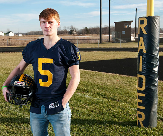 Don Knight   The Herald Bulletin<br /> Defensive football player of the year Shenandoah's Dallas Pugsley.