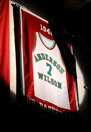 Don Knight   The Herald Bulletin<br /> A spotlight shines on Johnny Wilson's jersey during the pregame ceremony of Anderson's game against Marion on Tuesday.