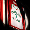 Don Knight | The Herald Bulletin<br /> A spotlight shines on Johnny Wilson's jersey during the pregame ceremony of Anderson's game against Marion on Tuesday.
