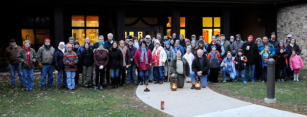 Don Knight | The Herald Bulletin<br /> A large group turned out for a First Day Hike at Mounds State Park on Tuesday.