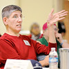 Don Knight | The Herald Bulletin<br /> Paula Dalton talks about avoiding food waste by composting produce that is no longer good to eat during a local food summit held by the Madison County Local Food Network at the Anderson Impact Center on Thursday.