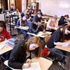 John P. Cleary | The Herald Bulletin<br /> Students in Debbie Kinner's Liberty Christian School composition class write in their journals every Friday.