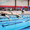 John P. Cleary | The Herald Bulletin<br /> Elwood and Clinton Central swimmers get off the blocks at the start of the boys 200 free style in front of a large crowd at the Elwood Jr/Sr High School pool Monday evening.