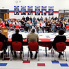 Don Knight | The Herald Bulletin<br /> School nurse Stacey Bock reads a statement during the Elwood Community Schools board meeting at the Elwood Jr.-Sr. High School cafeteria on Tuesday.