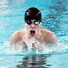 John P. Cleary | The Herald Bulletin<br /> Elwood's Chris Mendenhall swims the breaststroke during the boys 200 individual medley against Clinton Central Monday evening.
