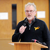 Don Knight | The Herald Bulletin<br /> Jim Savage, president of the Elwood Classroom Teachers Association, speaks at the Elwood Community Schools board meeting at the Elwood Jr.-Sr. High School cafeteria on Tuesday.
