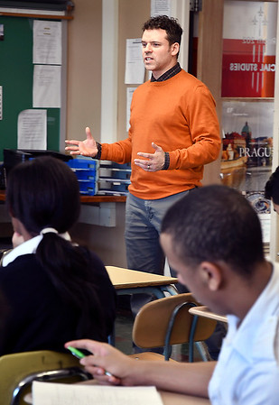 John P. Cleary | The Herald Bulletin<br /> Jeff Brunnemer asks questions of his Senior Government class students Monday afternoon at Anderson Preparatory Academy.