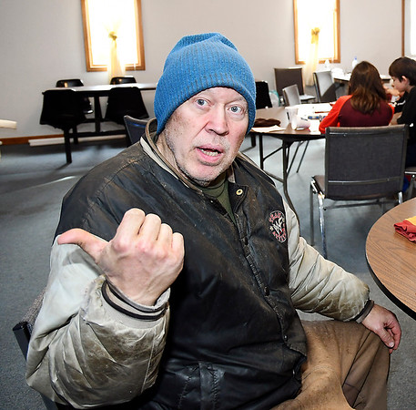 John P. Cleary   The Herald Bulletin<br /> Dave Pettigrew spent Tuesday night at the Main Street Church of God warming center. Pettigrew lives in rural Madison County but decided that staying at the farm by himself in this extreme cold would be a bad risk.