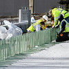 John P. Cleary | The Herald Bulletin<br /> Construction continues on the Eisenhower Bridge project as workers install rebar that will help form the wall separating the driving lanes from the pedestrian walkway on the east-bound lanes of the new bridge.