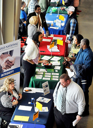 John P. Cleary   The Herald Bulletin<br /> Approximately 60 companies and businesses took part in the Hire Anderson Job Fair Friday at Purdue Polytechnic.