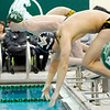 Don Knight | The Herald Bulletin<br /> Pendleton Heights Cameron Kordes is first off the block at the start of the boys 400 freestyle relay as the Arabians hosted Mt. Vernon on Thursday.
