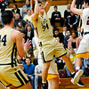 Don Knight | The Herald Bulletin<br /> Lapel's Cole Alexander drives the baseline during the Madison County Tournament semifinal at Alexandria on Thursday.