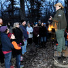 Don Knight | The Herald Bulletin<br /> Naturalist Kelly Morgan talks about the legacy of conservationist John Muir  during a First Day Hike at Mounds State Park on Tuesday.