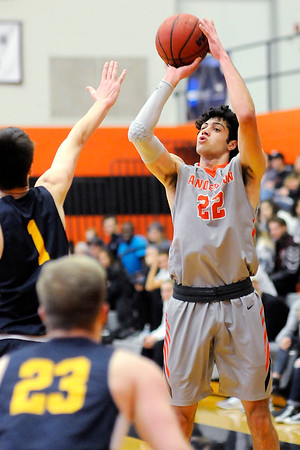 Don Knight | The Herald Bulletin<br /> Anderson University's Maurice Knight shoots as the Ravens hosted the Mount St. Joseph Lions on Saturday.