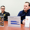 Don Knight | The Herald Bulletin<br /> James Harless, right, talks about the Anderson Firefighter/EMS Support Network.