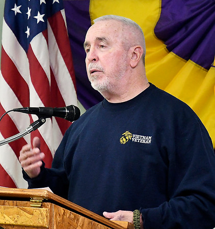 Mike Sipes, a former Marine who served in Vietnam, tells of his experience going to Washington on an Indy Honor Flight last year during the Anderson Lions Club meeting Thursday.