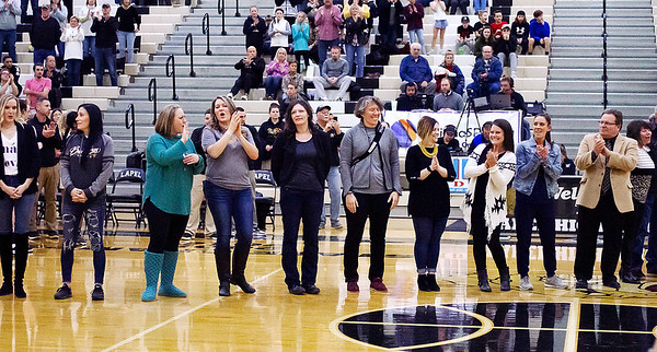 The 2000 Lapel girls sectional champs were honored during Thursday nights game.