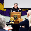 Trina Winegarder, a coordinator for Indy Honor Flight, speaks at the Anderson Lions Club meeting Thursday discussing the program that honors military veterans.