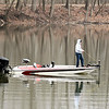 With the temperature around 50 degrees and a light wind Friday afternoon, this angler thought it would be a good day to get the boat out on Shadyside Lake and try his luck at some fishing.