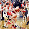 Frankton's Jacob Davenport gets caught up with Lapel's Landon Bair as he looses control of the ball.