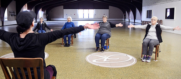 These ladies enjoy the tranquility and exercise of participating in chair yoga at the Rangeline Community Center Thursday afternoon. The center holds this stress relieving program every Monday and Thursday starting at 2:30 p.m.