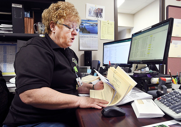 Deena Watkins, administrator of the Sheriff's Civil Office, goes through the paper work for the properties up for sale at this month's Sheriff's Sale January 24th.