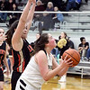 Daleville's Audrey Voss gets by Elena Tufts of Liberty Christian for a shot.