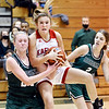 Frankton's Bella Dean collides with Abi Rosenkrans of Pendleton as she leaps for a rebound.