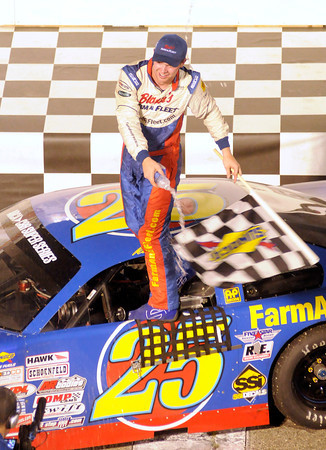 Ross Kenseth celebrates his Redbud 300 win at Anderson Speedway on Saturday.