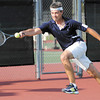 Tom Ayers returns a volley to Mark Mustin during their Mens D Singles match on opening day of the 33rd annual Community Hospital Anderson Tennis Classic on Saturday.