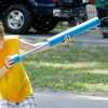 Forest Adams, 11, of Cincinnati  keeps cool with water guns while camping at Mounds State Park on Saturday.