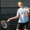 Sarah Wallace keeps her eye on the ball at the Community Hospital Anderson Tennis Classic. Wallace and Kerrie Ecker were defeated by Sidnay Huck and Bailee Scribner in the doubles match.