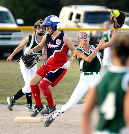 Audrey Ricker steals second after knocking in two RBIs on a single putting Riverfield up 2-0 early over Yorktown during the District 6 11 and 12 year old softball tournament at Riverfield Little League on Friday.