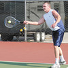 Mark Mustin returns a volley to Tom Ayers during their Mens D Singles match on opening day of the 33rd annual Community Hospital Anderson Tennis Classic on Saturday.