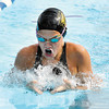 Hannah Boerner, 13, swims in the Girls 13 & over 100 meter breaststroke finals at the Swim Invitational held at the Dolphin Club held over the weekend.<br /> Boerner is a member of the ACAC swim club.