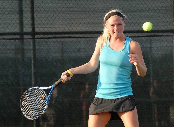 Bailee Scribner of Lapel prepares to volley the ball during her doubles match with partner Sidnay Huck at the Community Hospital Anderson Tennis Classic Tuesday evening at Anderson University.