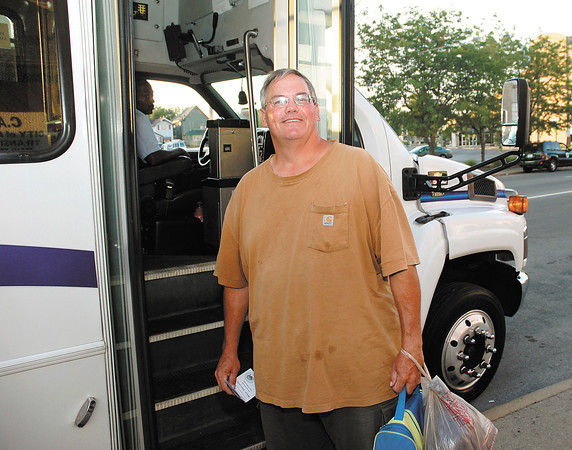 William Strastman, who works at Anderson Memorial Park, was the first rider on the CATS express bus service to the Flagship Enterprise Center Monday morning.