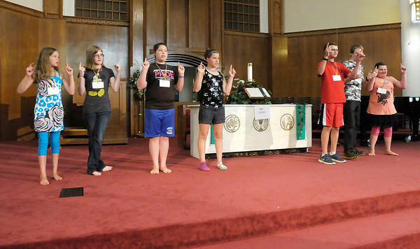 """Don Knight/The Herald Bulletin<br /> Participants in Central Christian Church's arts camp rehearse """"Fiddler on the Roof, Jr."""""""