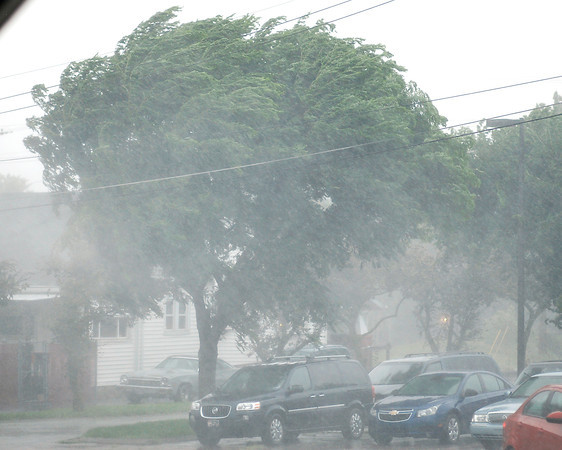 A severe thunderstorm rolled through the county Wednesday afternoon packing heavy rains and high winds.