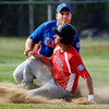 Madison County Elite base runner Eddie Boner grimaces as he is tagged out while sliding into third base on an attempted steal.