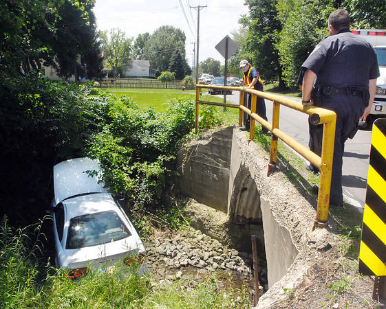 A car ran off the road and down into this drainage ditch Friday afternoon in the 1400 block of Alexandria Pike.  One person was taken by ambulance to the hospital and the road was closed for part of the afternoon as crews worked to remove the vehicle from the revine.