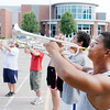 Don Knight/The Herald Bulletin<br /> Demetrius Peoples practices with the Anderson High School marching band Thursday evening. The finale of the band's season will be competing at the Indiana State Fair Band Day on Aug. 2.