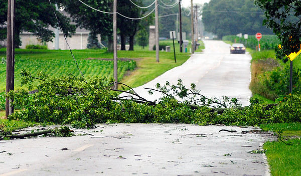 The 3600 block of County Road 200 South was blocked be fallen trees and power lines Wednesday afternoon after a thunderstorm moved through the area.