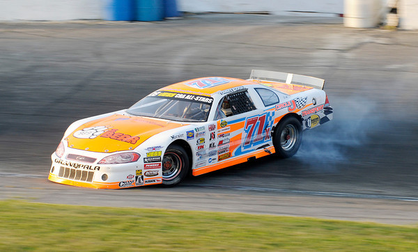 Don Knight/The Herald Bulletin<br /> Tommy Cook spins after being bumped by Cody Coughlin during the JEGS/CRA All-Stars Tour 100 lap race at the Anderson Speedway on Friday.