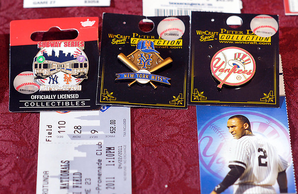 Monty Porter's pins from the subway series between the Mets and the Yankees in 2011.