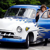 "Noelle Shull with her late husband's, Neal Shull, 1952 Chevy ""The Grey Goose.""  This year, Kiwanis is honoring Shull by holding the second annual Kiwanis Kar Show in his memory July 13 at Falls Park in Pendleton."