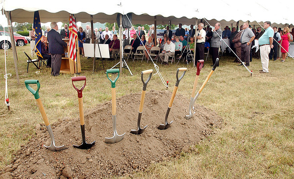 Associates of Ford and Myers Buick-GMC Autoworld along with city and community leaders attended the groundbreaking celebration for auto dealer's new facilities to be build in the 2900 block of South Scatterfield Road in Anderson.