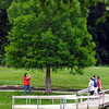 Kelly Hughes, of Anderson, takes a family portrait of her children around the pond at Pulaski Park Tuesday afternoon.